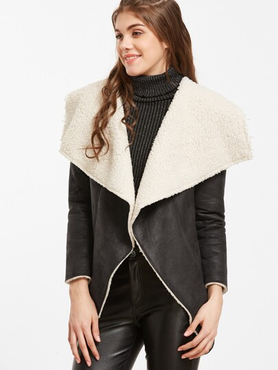 Black Faux Shearling Waterfall Collar Jacket