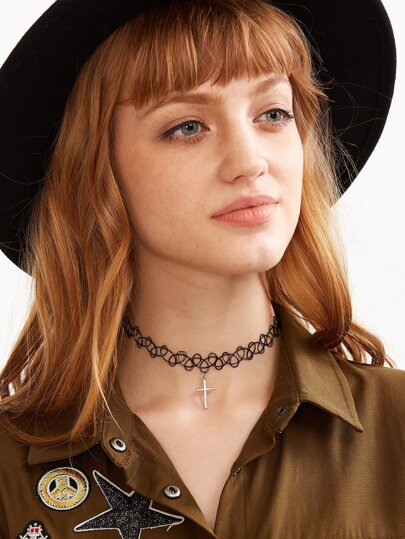 Metal Cross Pendant Elastic Choker Necklace