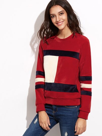 Color Block Raglan Sleeve Velvet Sweatshirt