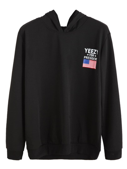 Black American Flag Print Hooded Sweatshirt
