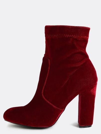 Almond Toe Velvet Ankle Boots BORDEAUX