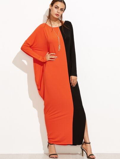 Contrast Asymmetric Dolman Sleeve Slit Dress