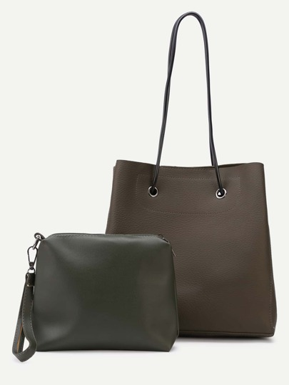 Olive Green Faux Leather Shoulder Bag Set