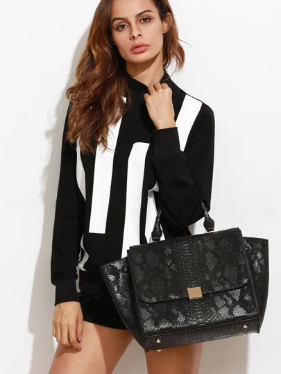Black Snakeskin Leather Flap Handbag With Strap
