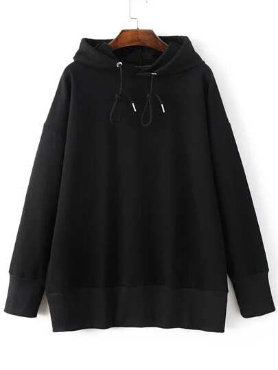 Black Drop Shoulder Hooded Loose Sweatshirt