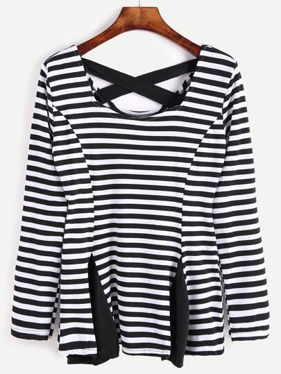 T-shirt mit Schößchen Saum Kreuz Kontrast Streifen