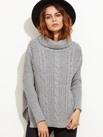Grey Cable Knit Turtleneck High Low Sweater