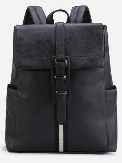 Black PU Buckle Strap Flap Backpack
