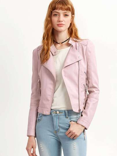 Pink Oblique Zipper PU Jacket With Buckle