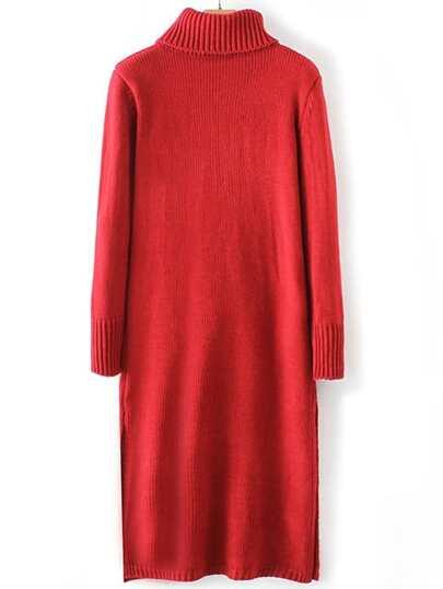 Red Turtle Neck Side Slit Sweater Dress