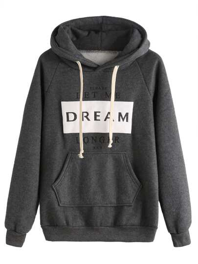 Grey Letters Print Pocket Hooded Sweatshirt