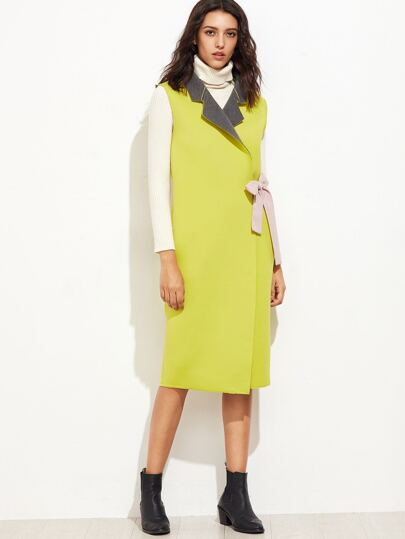 Yellow Double Face Sleeveless Wrap Coat