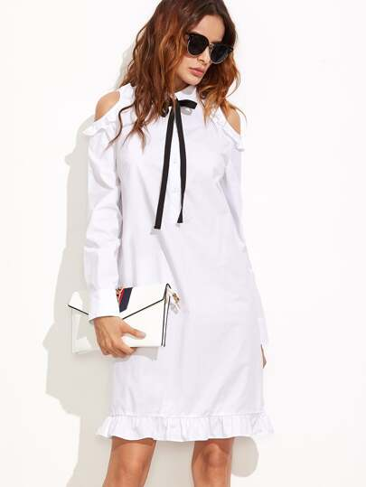 White Tie Neck Open Shoulder Ruffle Trim Shirt Dress