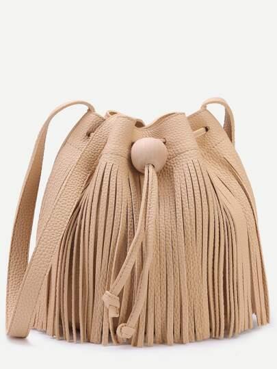 Khaki Pebbled PU Tassel Fringe Drawstring Bucket Bag