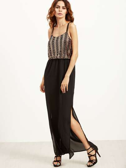 Black Spaghetti Strap Split Side 2 in 1 Sequined Dress