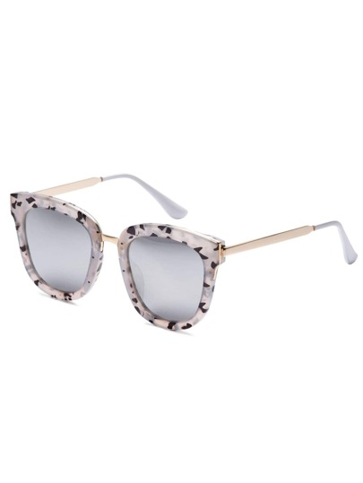 Grey Bold Camo Frame Metal Arm Sunglasses