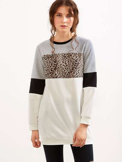 Color Block Long Sweatshirt