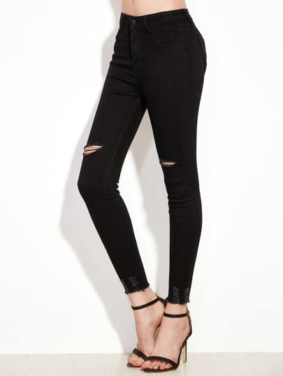 Skinny Jeans mit zerrissenem Raw Saum -schwarz