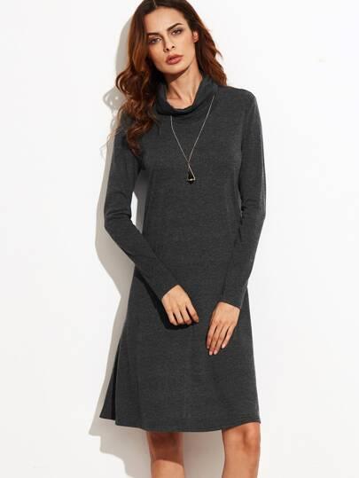 Vestido recto manga larga con cuello vuelto - gris oscuro