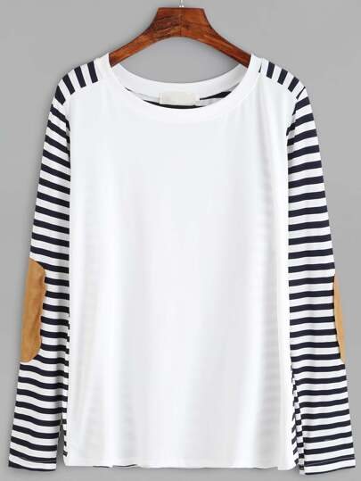 Eblow Patch Striped T-shirt