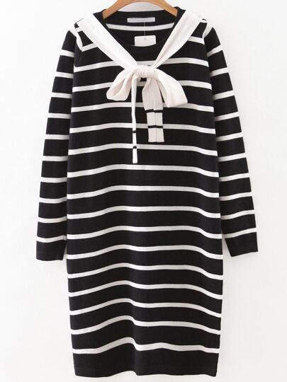 Black Striped Sweater Dress With Tie
