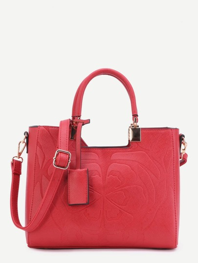 Red Floral Embossed Handbag With Strap