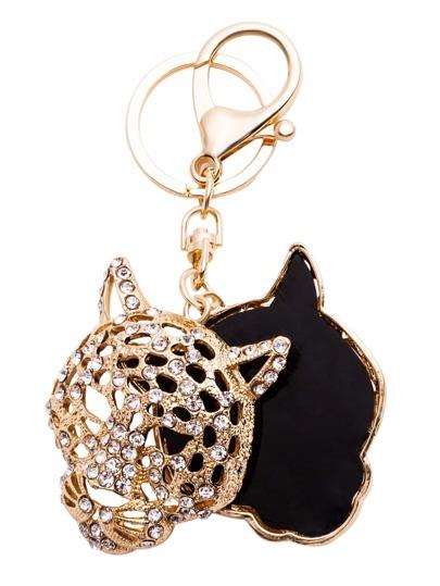 Gold Rhinestone Hollow Tiger Head Keychain