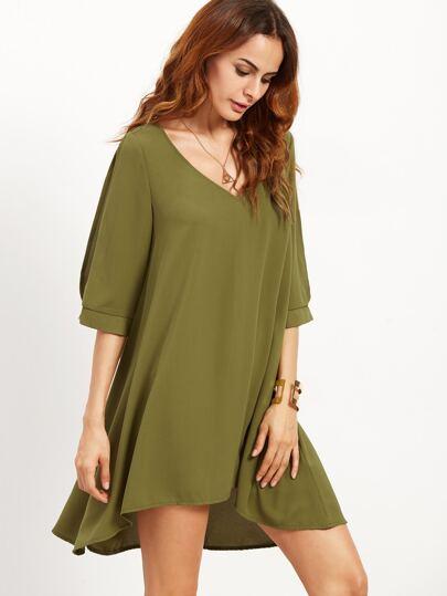 Olive Green Split Sleeve Swing Dress