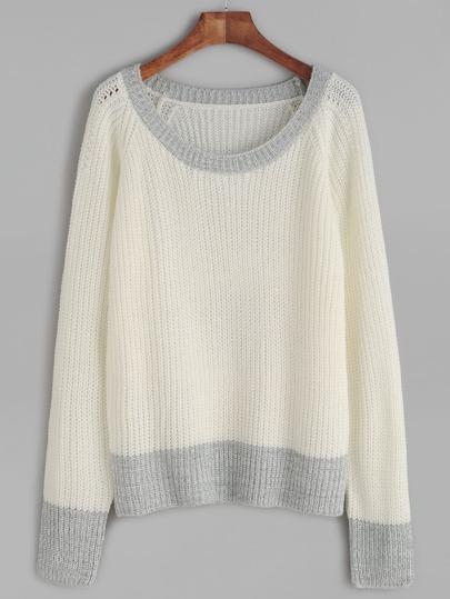 White Contrast Trim Waffle Knit Raglan Sleeve Sweater