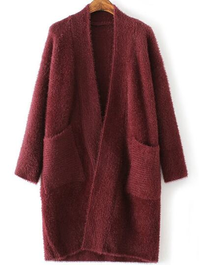 Burgundy Collarless Open Front Cardigan With Pockets