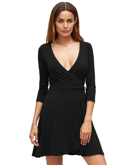 Deep V Neck Wrap Front Flowing Dress