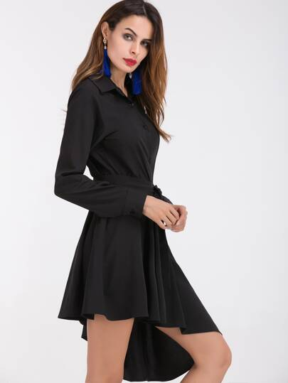 Black Self Tie Asymmetric Shirt Dress