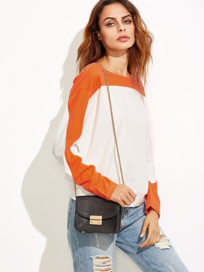 Color Block Drop Shoulder Dolman Sleeve Sweatshirt