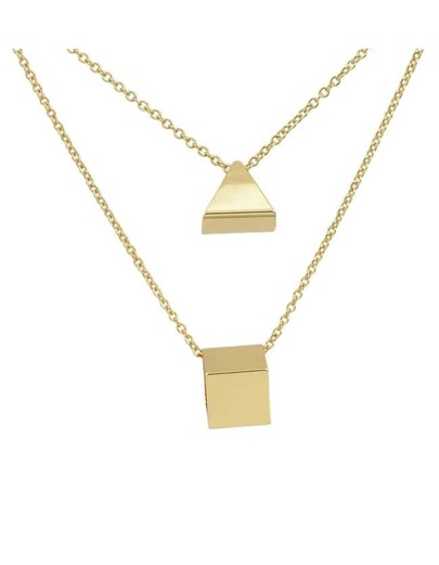 Two Layers Geometric Pendant Necklace