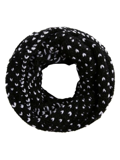 Black And White Marled Knit Scarf