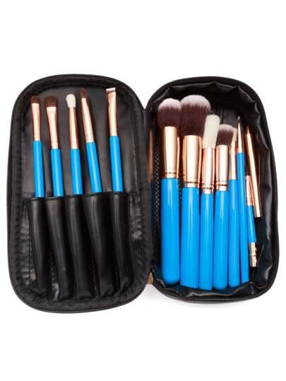 Blue Professional Makeup Brush Set With Brown Zipper Bag