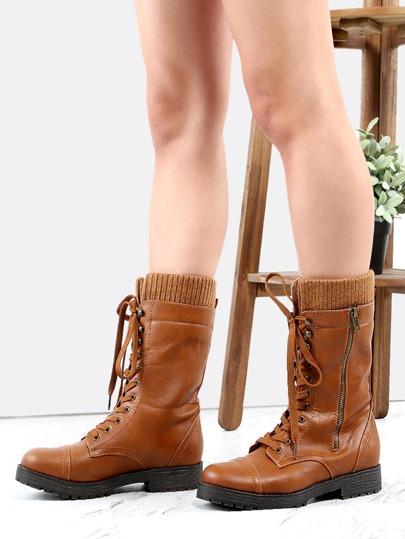 Knit Cuff Combat Boots CHESTNUT