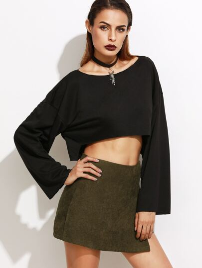 Black Dropped Shoulder Seam High Low Crop T-shirt