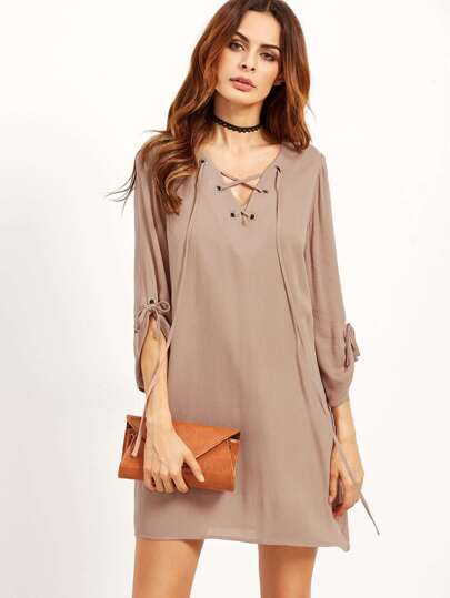 Coffee Lace Up V Neck Tunic Dress