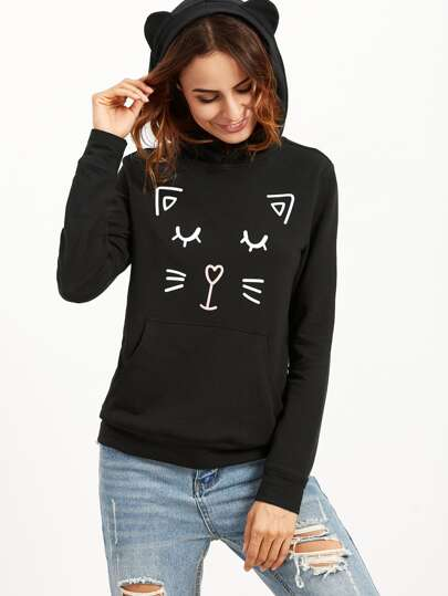 Black Printed Cat Ear Hoodie With Pocket