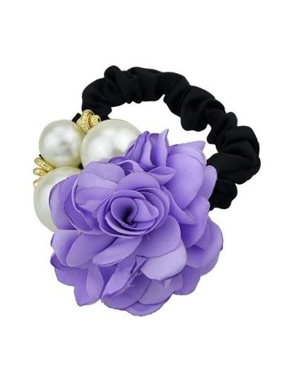 Purple Fower Pearl Elastic Hair Band