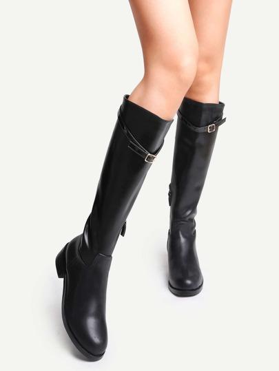 Botas de caña alta de cuero correa de hebilla con cremallera - negro
