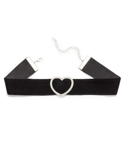 Black Cutout Rhinestone Heart Pendant Choker