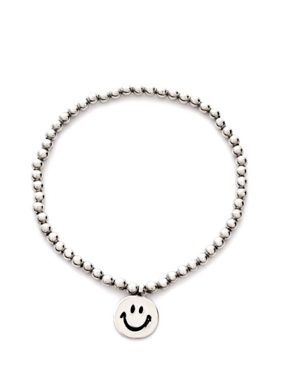 Silver Smiley Face Beaded Bracelet