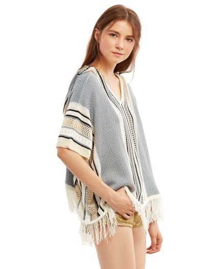 Multicolor Tassel Hem Hooded Top en maille