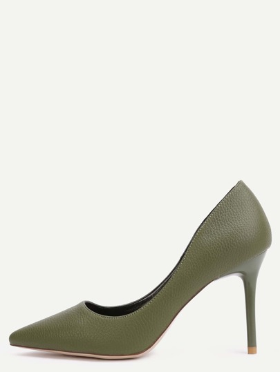Green Faux Leather Point Toe Heels