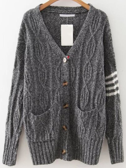 Dark Grey Striped Detail Button Up Cardigan