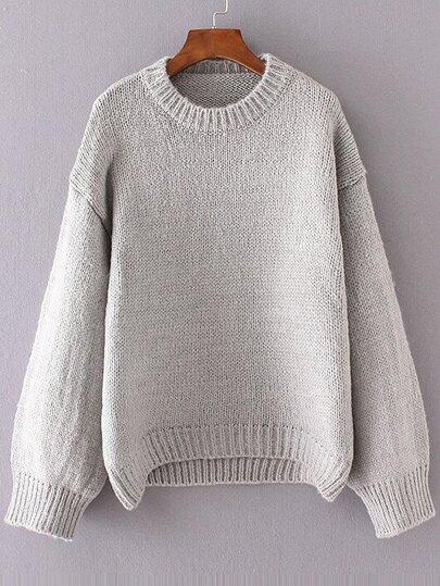 Grey Crew Neck Drop Shoulder Sweater