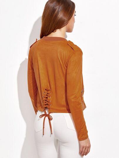 Khaki Zipper Lace Up Suede Jacket