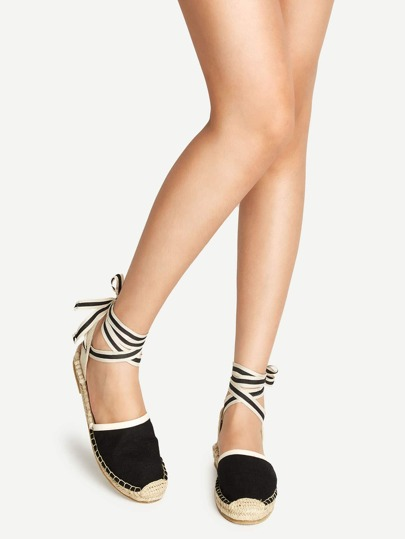 Black Ankle Lace Up Canvas Espadrilles